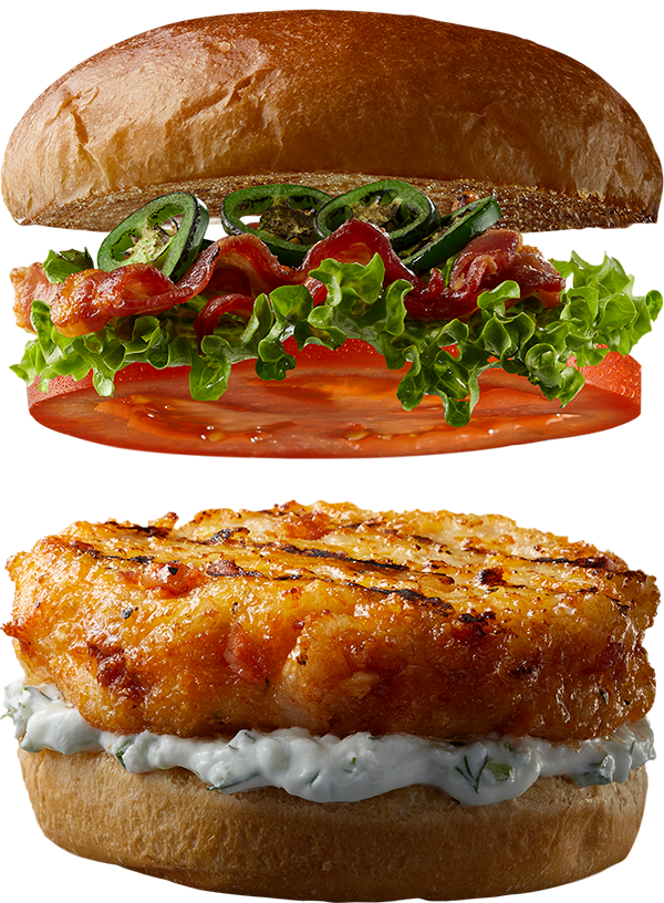 """4 oz. BACON CHEDDAR Shrimp Burger by Good Neighbor Seafood Co. — with """"Some Like It Hot"""" toppings."""