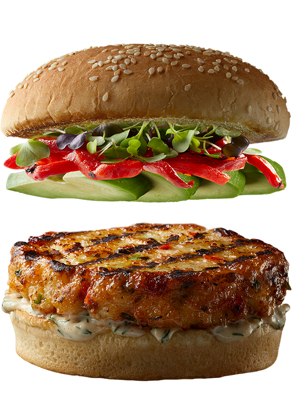 """4 oz. ORIGINAL NAKED Shrimp Burger by Good Neighbor Seafood Co. — with """"Fresh Start"""" toppings."""
