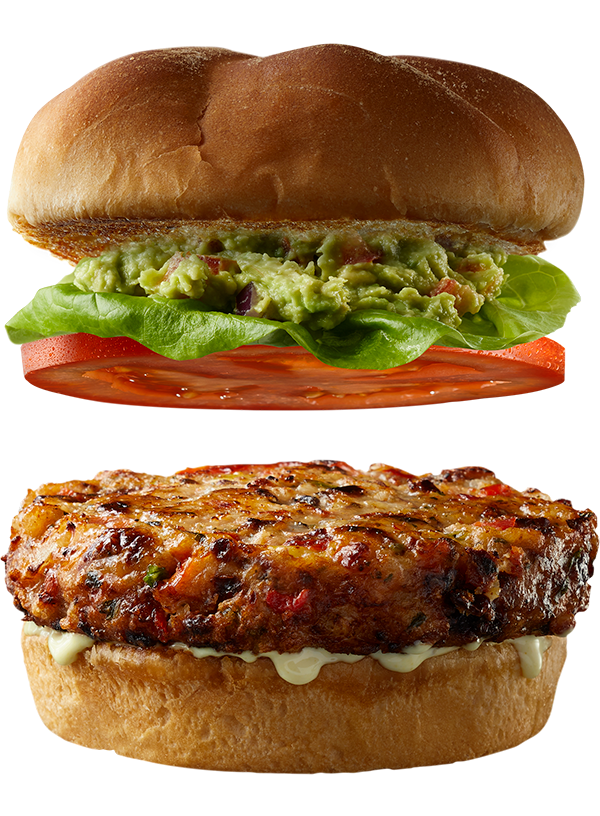 """4 oz. SOUTHWEST Shrimp Burger by Good Neighbor Seafood Co. — with """"Southern Comfort"""" toppings."""