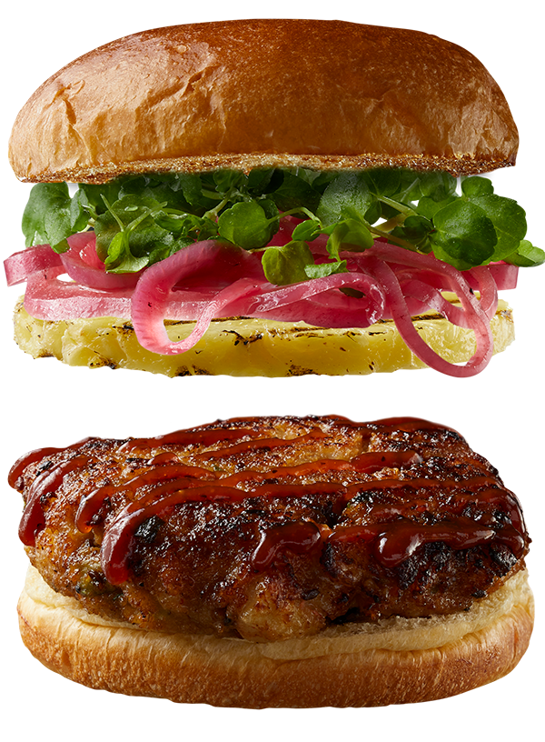 """4 oz. SWEET & SMOKY Shrimp Burger by Good Neighbor Seafood Co. — with """"Sweet & Tangy"""" toppings."""
