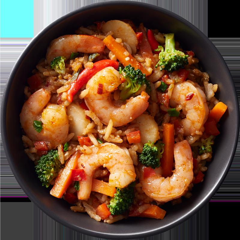 10 oz. microwavable Spicy Szechuan shrimp bowl by Good Neighbor Seafood Co. — Gluten free