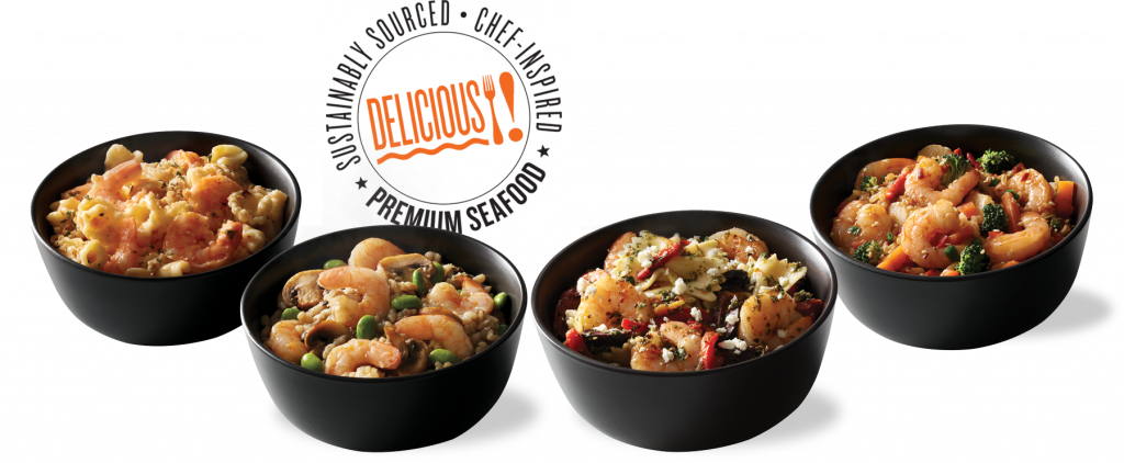 Four gourmet shrimp bowls — each a complete meal-in-a-bowl!
