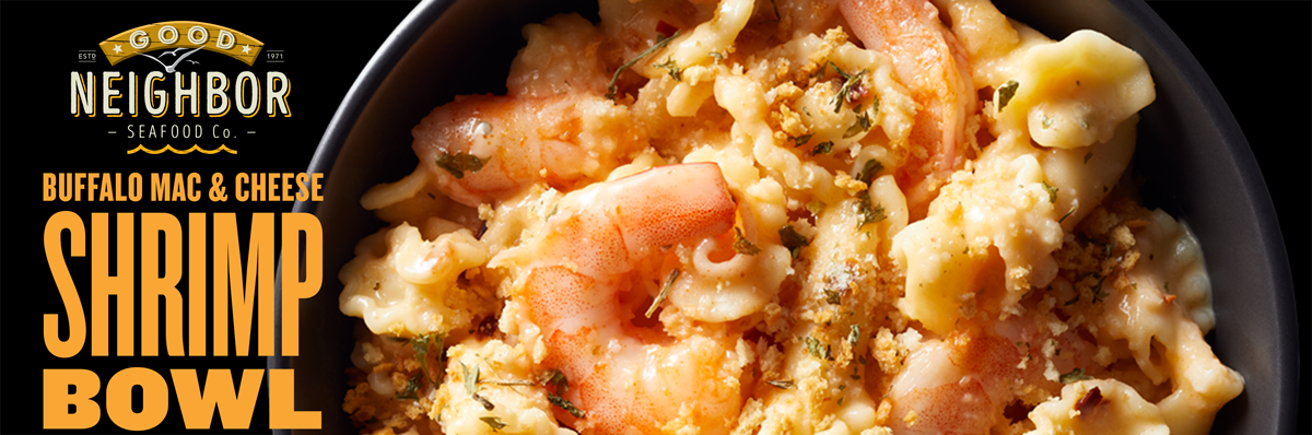 10 oz. microwavable BUFFALO MAC & CHEESE Shrimp Bowl by Good Neighbor Seafood Co.