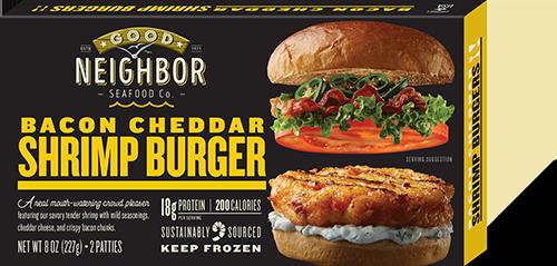"Good Neighbor ""Bacon Cheddar"" Shrimp Burger"