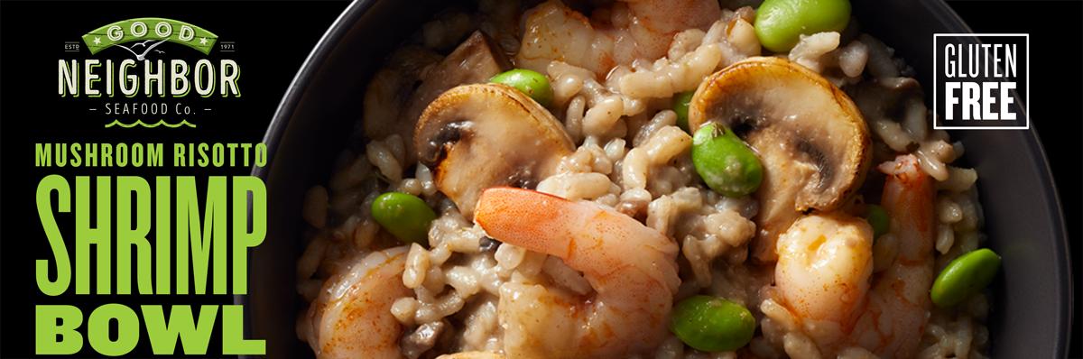 10 oz. microwavable MUSHROOM RISOTTO Shrimp Bowl by Good Neighbor Seafood Co. — Gluten Free