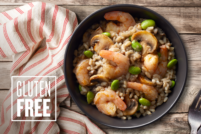 10 oz. microwavable Mushroom Risotto gourmet shrimp bowls by Good Neighbor Seafood Co. — Gluten Free