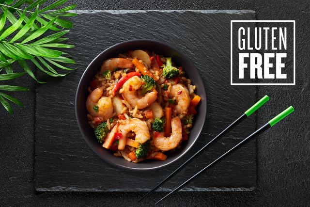 10 oz. microwavable Spicy Szechuan gourmet shrimp bowls by Good Neighbor Seafood Co. — Gluten Free